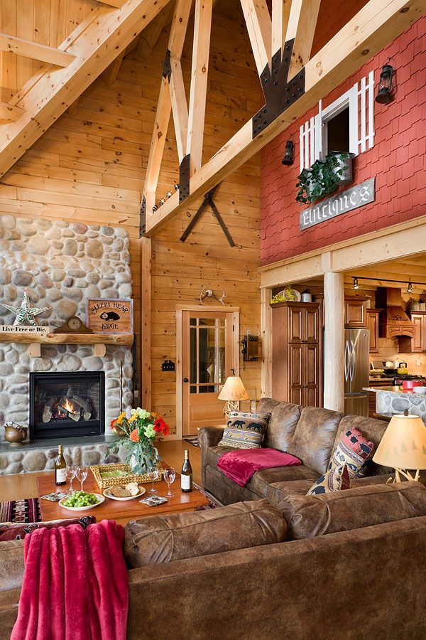 Check out this gorgeous log home The great room within is simply