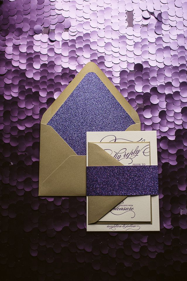 FAITH Suite Glitter Package. Glitter Wedding InvitationsWedding Stationery Purple And Gold ...