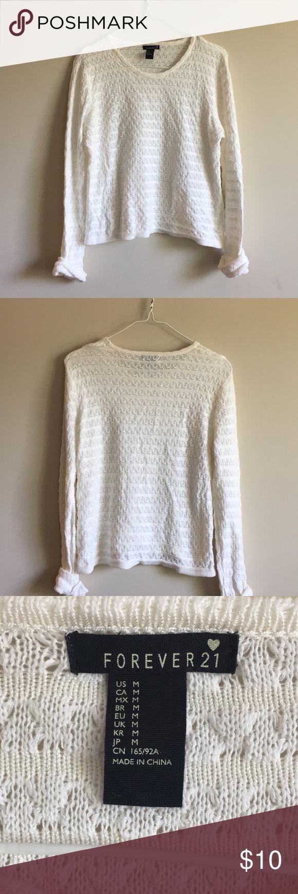 Forever 21 Cream/White Knitted Sweater | Cream white, Forever 21 ...