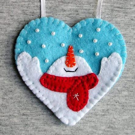 Snowman Christmas Ornaments Snowman Decor Felt Ornament Snowman