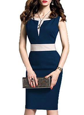 Woosea Womens 23 Sleeve Colorblock Slim Bodycon Business