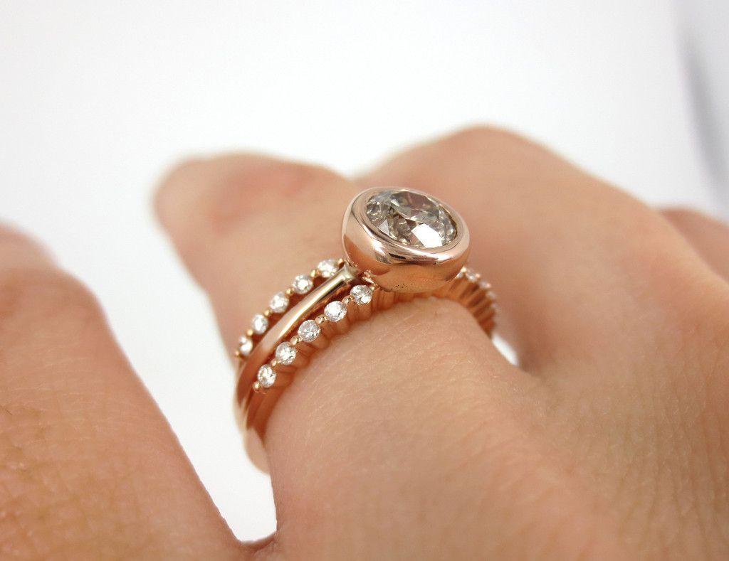 Halo rose gold diamond engagement ring bezel - Ring Set Of 3 Champagne Diamond Bezel Set 18k Rose Gold Engagement