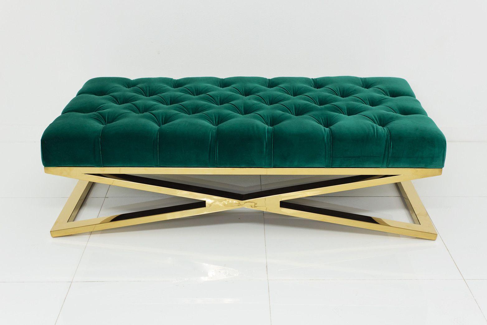 Brass X-base Ottoman In Regal Laguna Velvet Green With