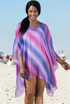 Plus Size Lavender Ombre Poncho