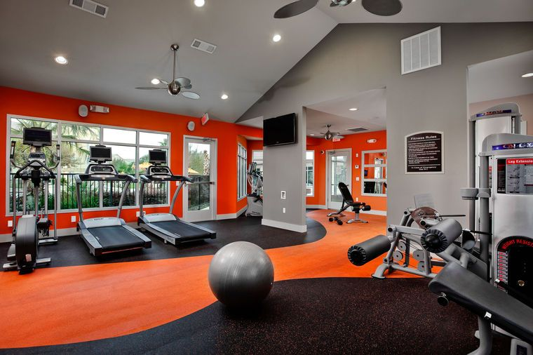 Excellent Home Gym Room Decorating Ideas : Well Equipped Home Gym Design  Ideas With Orange Theme