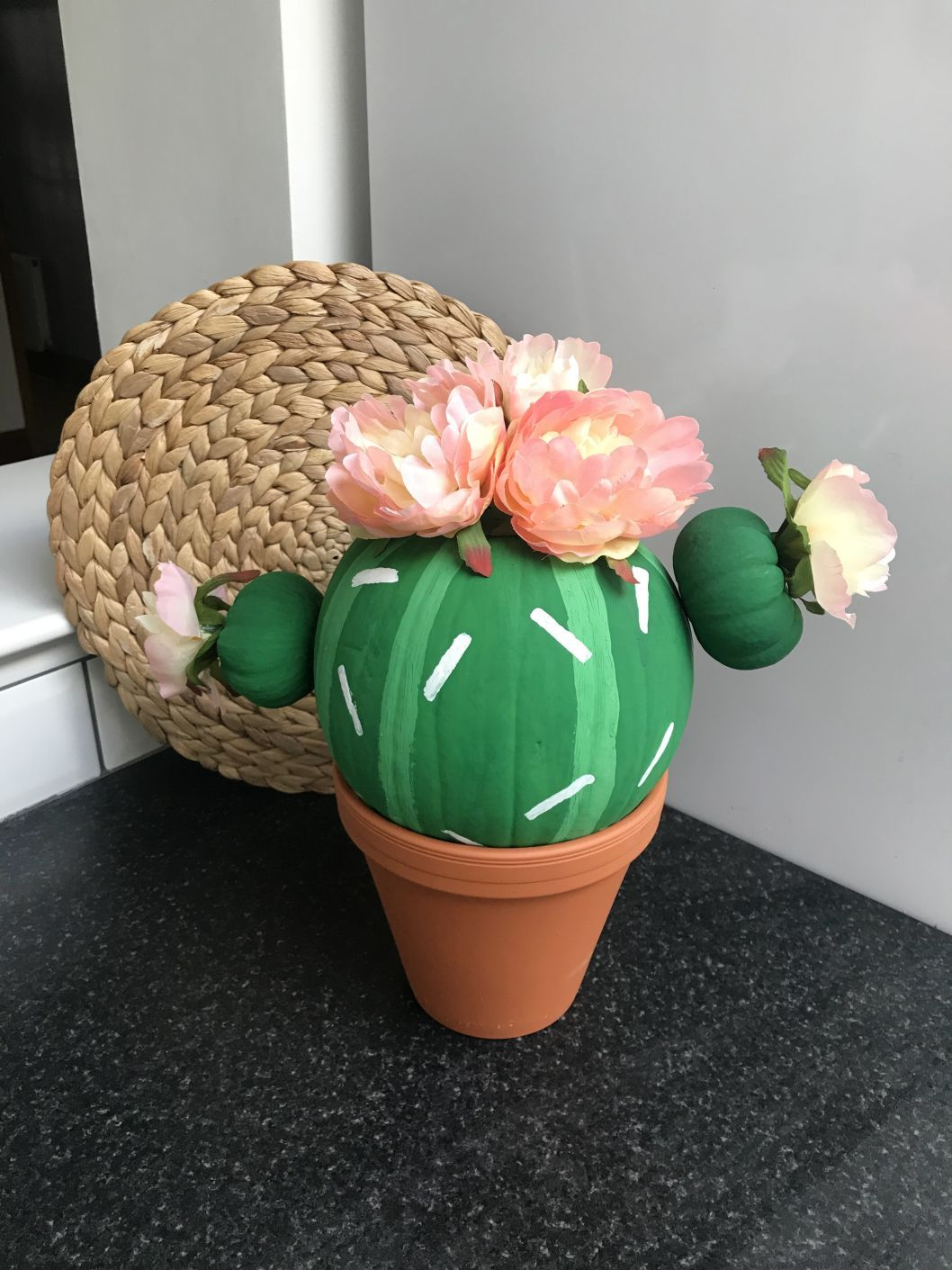 How to make a cactus pumpkin DIY painted pumpkin - flowering cactus #paintedpumpkinideas