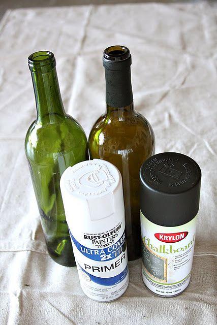 Spray Paint wine bottles
