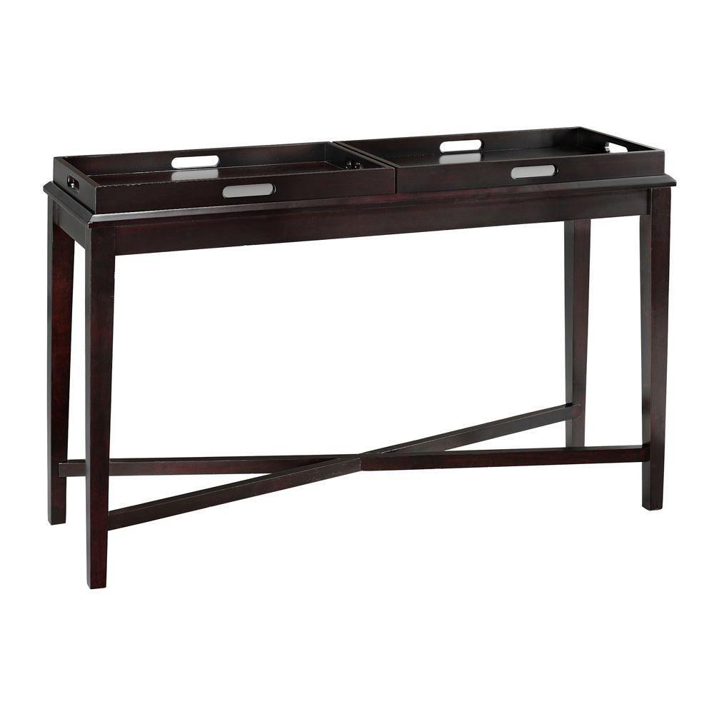 Tray espresso console table dark oak console tables espresso tray espresso console table dark oak geotapseo Gallery