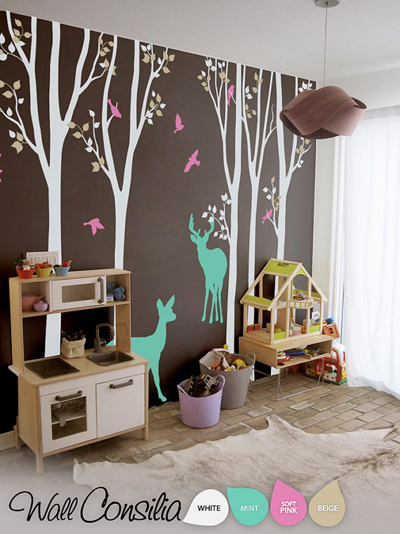 Baby Nursery Wall Decals Birch Trees Decal Tree By Wallconsilia 95 00