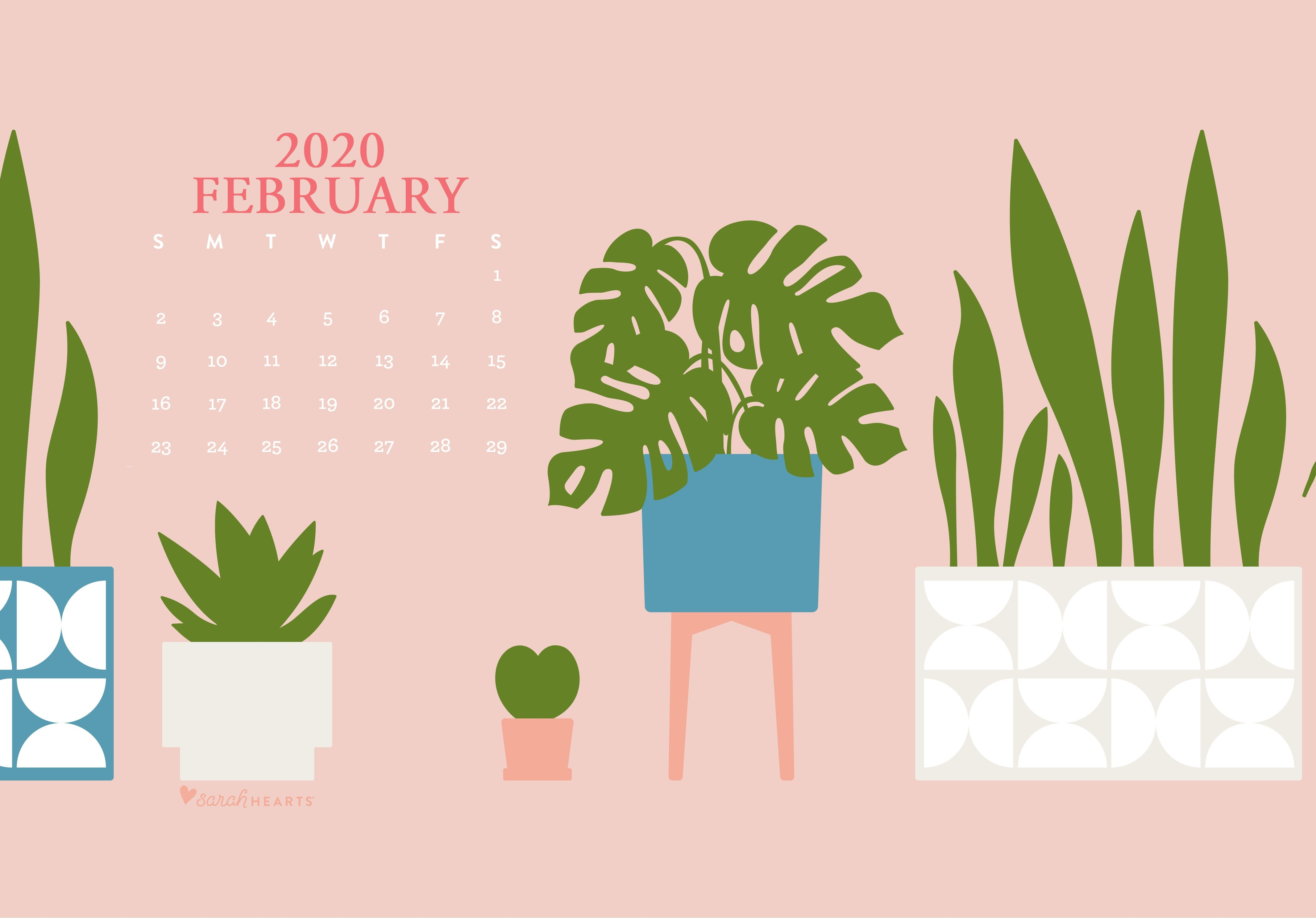 Cute February 2020 Desktop Screensaver In 2020 Calendar Wallpaper Desktop Wallpaper Calendar February Wallpaper