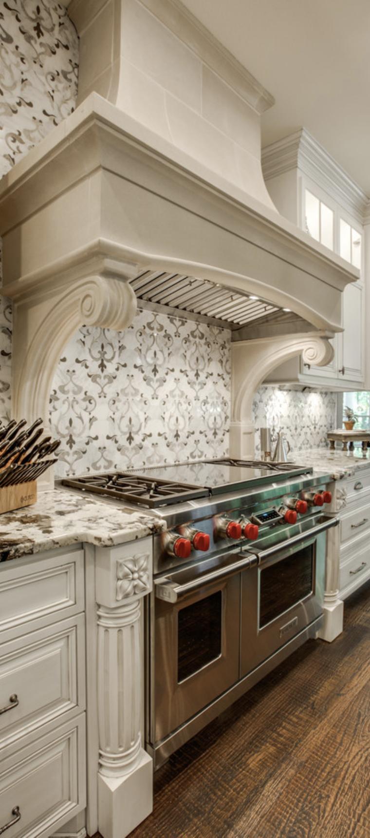 kitchen tile backsplash wolf range gorgeous hood