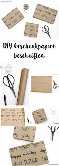 diy geschenkpapier beschriften diy pinterest geschenke geschenkpapier und papier. Black Bedroom Furniture Sets. Home Design Ideas