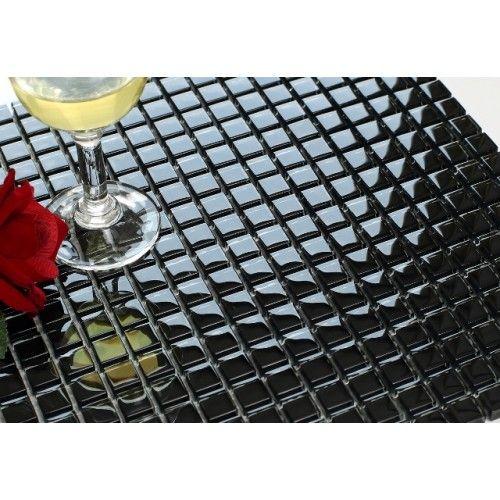 MOS0730 - Glossy black glass square mosaics by Nova Deko.