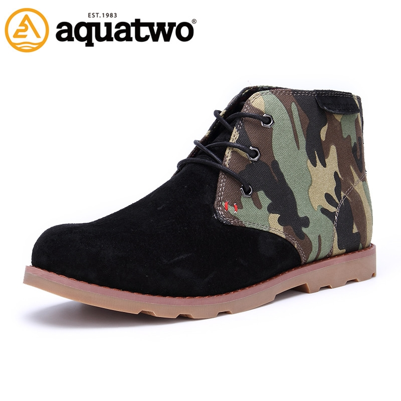 (93.20$)  Watch here  - Hot Sale 2016 New AQUA TWO Men's Boots Lace Up Leather Ankle Boots Breathable Shoes Black Brown US5.5-10# Zx Flux Casual Shoes