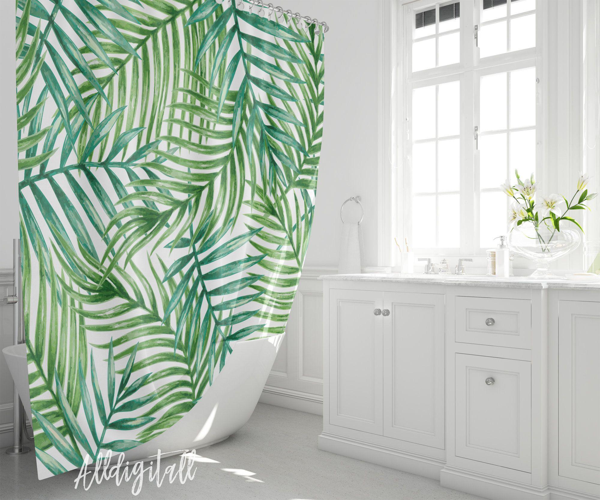 Tropical Shower Curtain Modern Bathroom Decor Green Leaves Etsy In 2020 Tropical Shower Curtains Tropical Showers Bathroom Decor
