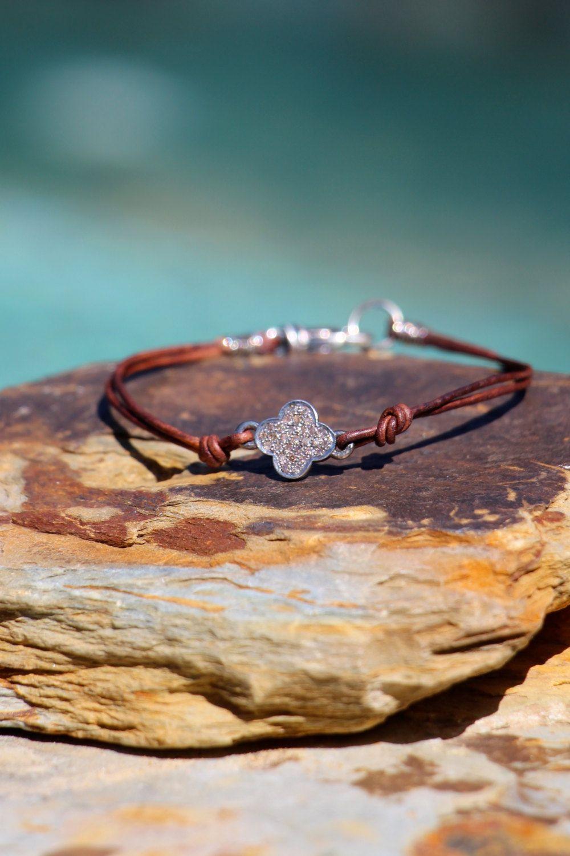 Diamond Connector Bracelet, Clover Pave Diamond Designer Style Bracelet with Greek Leather, Boho Beach Chic Clover Diamond Leather Bracelet by HappyGoLuckyJewels on Etsy