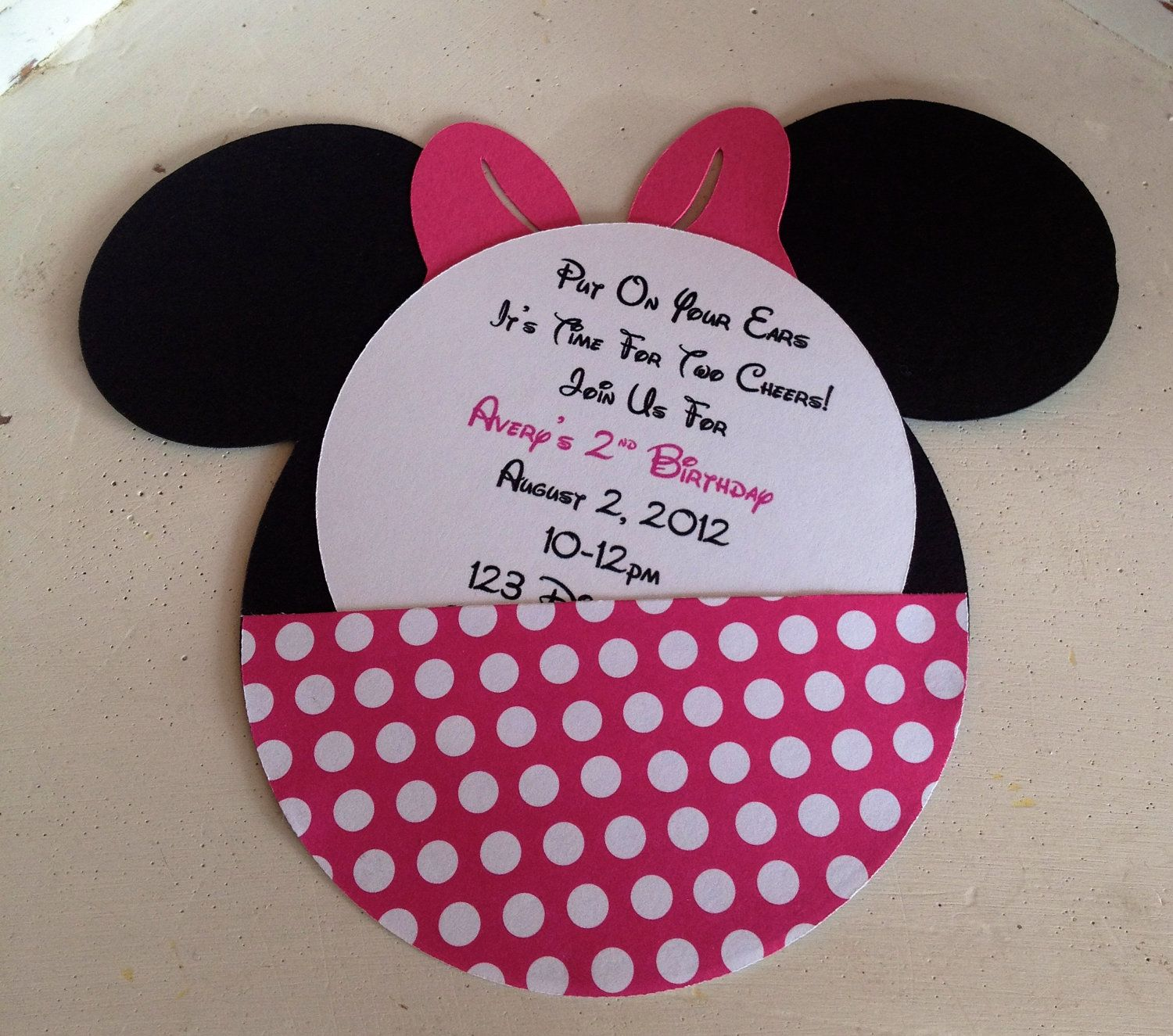 handmade custom hot pink minnie mouse birthday invitations set of, invitation samples
