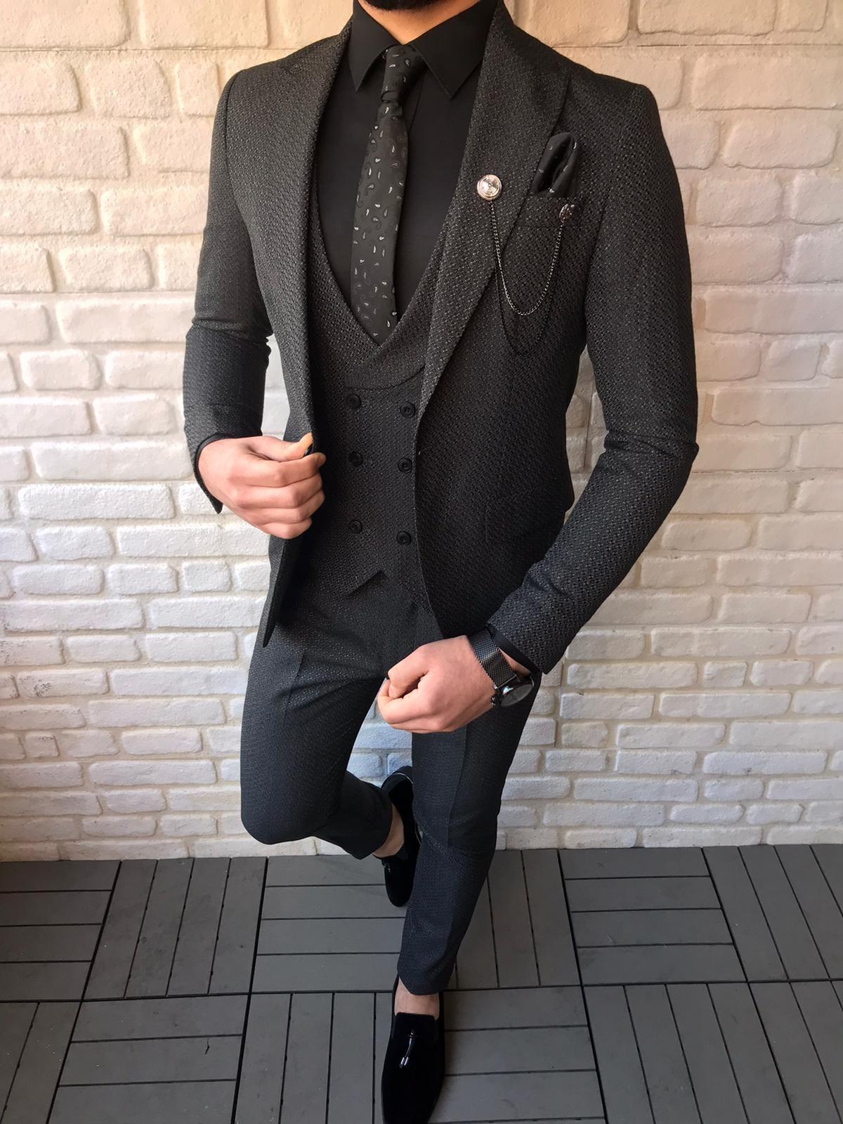 Fremont black slim fit patterned suit in 2020 suits