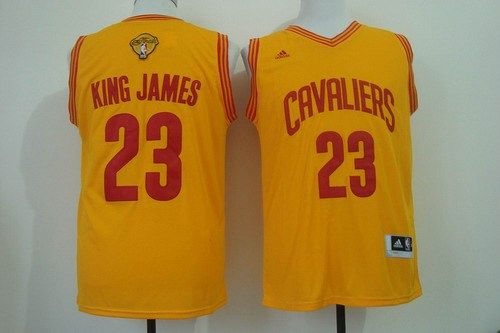15a7b8121d3d Men s Cleveland Cavaliers  23 King James Nickname 2016 The NBA Finals Patch  Yellow Fashion Jersey