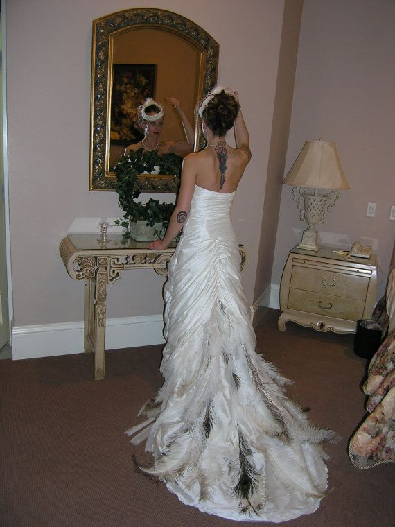 Rusched silk dupioni wedding gown with peacock ostrich for Wedding dress with ostrich feathers