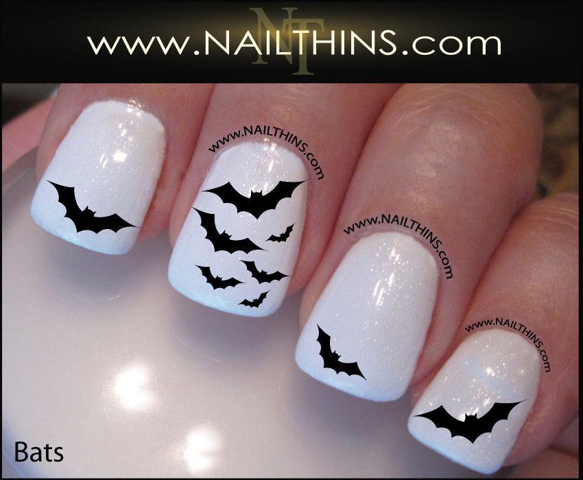 Bat Nail Decals Scary Bats Halloween Vampire Nail Art | Halloween ...