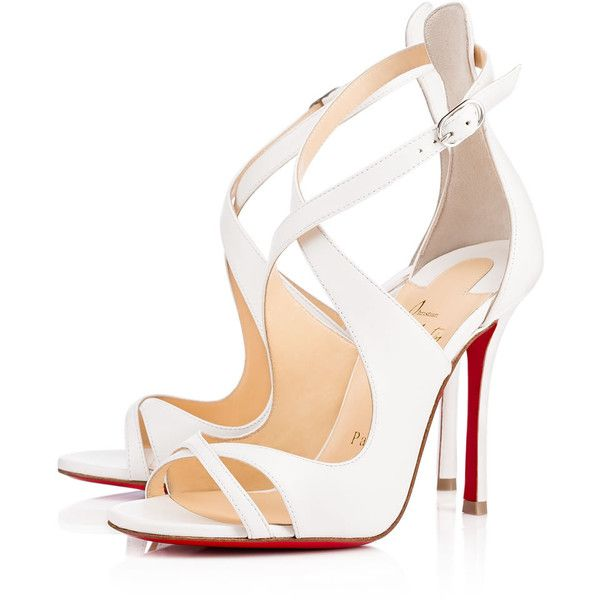 Malefissima 100 LATTE Nappa - Women Shoes - Christian Louboutin ($1,010) ❤ liked on Polyvore featuring shoes, pumps, christian louboutin shoes, christian louboutin, open toe shoes, open-toe pumps and open toe pumps
