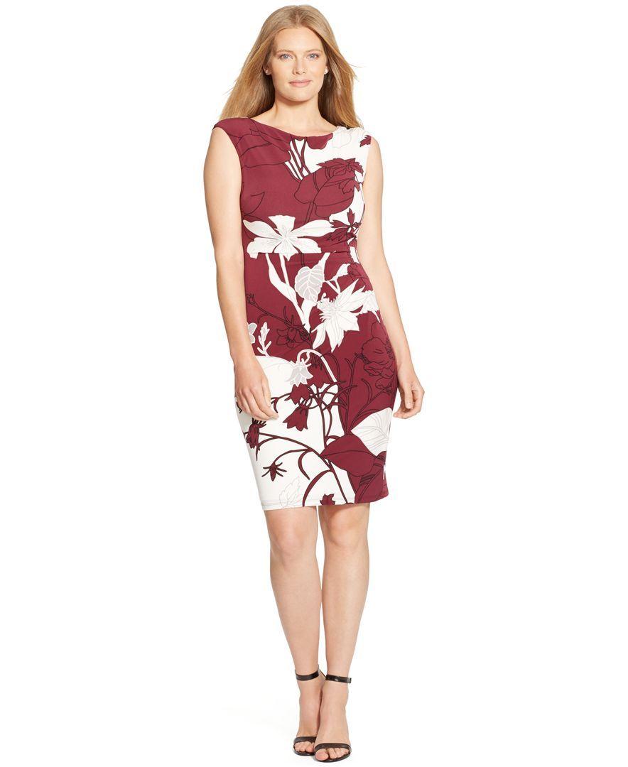 Lauren Ralph Lauren Plus Size Floral Print Cap Sleeve Dress