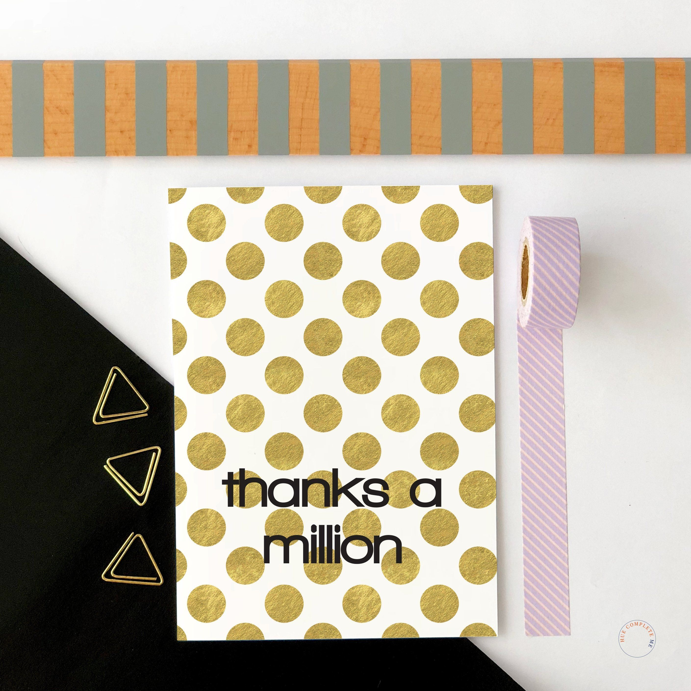 thanks a million large gold dot card  thank you card size