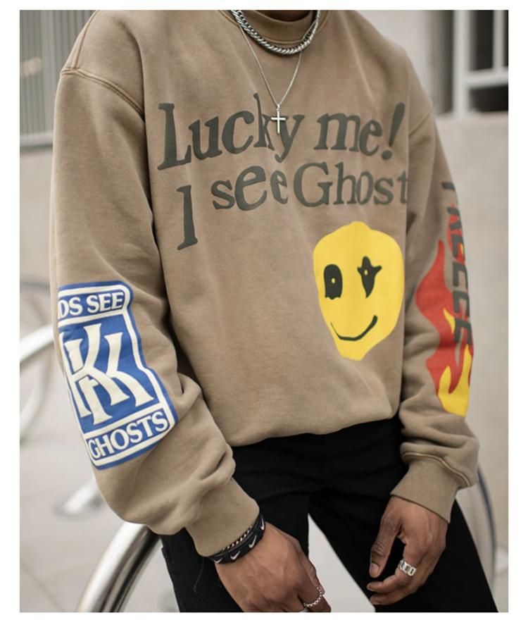 Kids See Ghosts Lucky Me Crewneck Sweatshirt In 2020 Graphic Sweatshirt Outfit Sweatshirt Outfit Casual Crewneck Sweatshirt Outfit