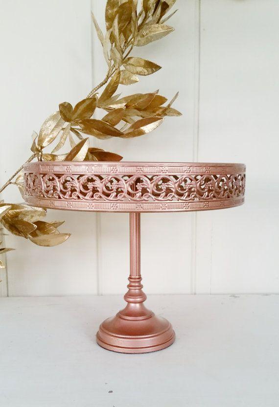 12 Inch CAKE STAND Copper Rose Gold Metallic Metal Filigree Scroll Tall Round Dessert Pedestal Wedding & 12 Inch CAKE STAND Copper Rose Gold Metallic Metal Filigree Scroll ...