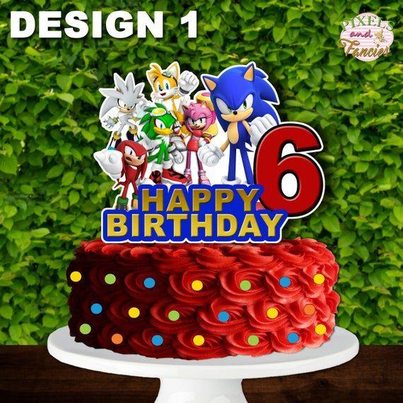 happy birthday sonic the hedgehog cake topper