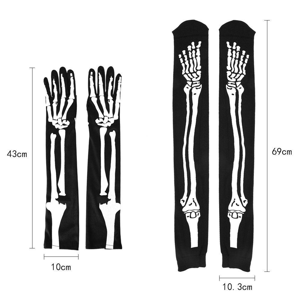 bec9c9e88 Frightening Halloween Costumes    LINGJUN Skeleton Socks GlovesOver Knee  High Sock and Full Finger Long Arm Glove for Halloween Costume Cosplay   ...