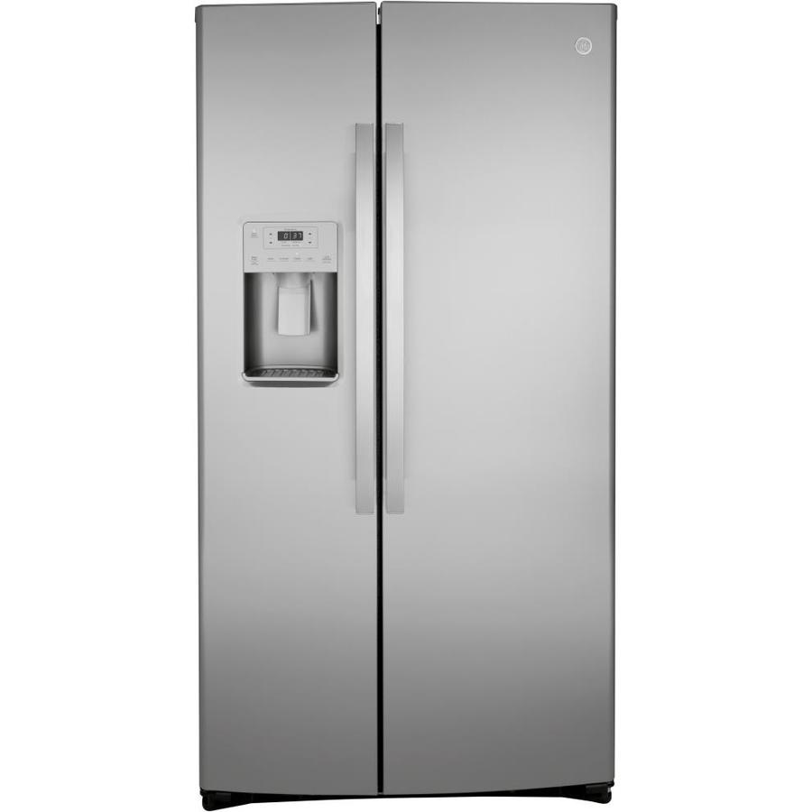 Ge 21 9 Cu Ft Counter Depth Side By Side Refrigerator With Ice Maker Fingerprint Resistant St Side By Side Refrigerator Counter Depth Stainless Steel Counters