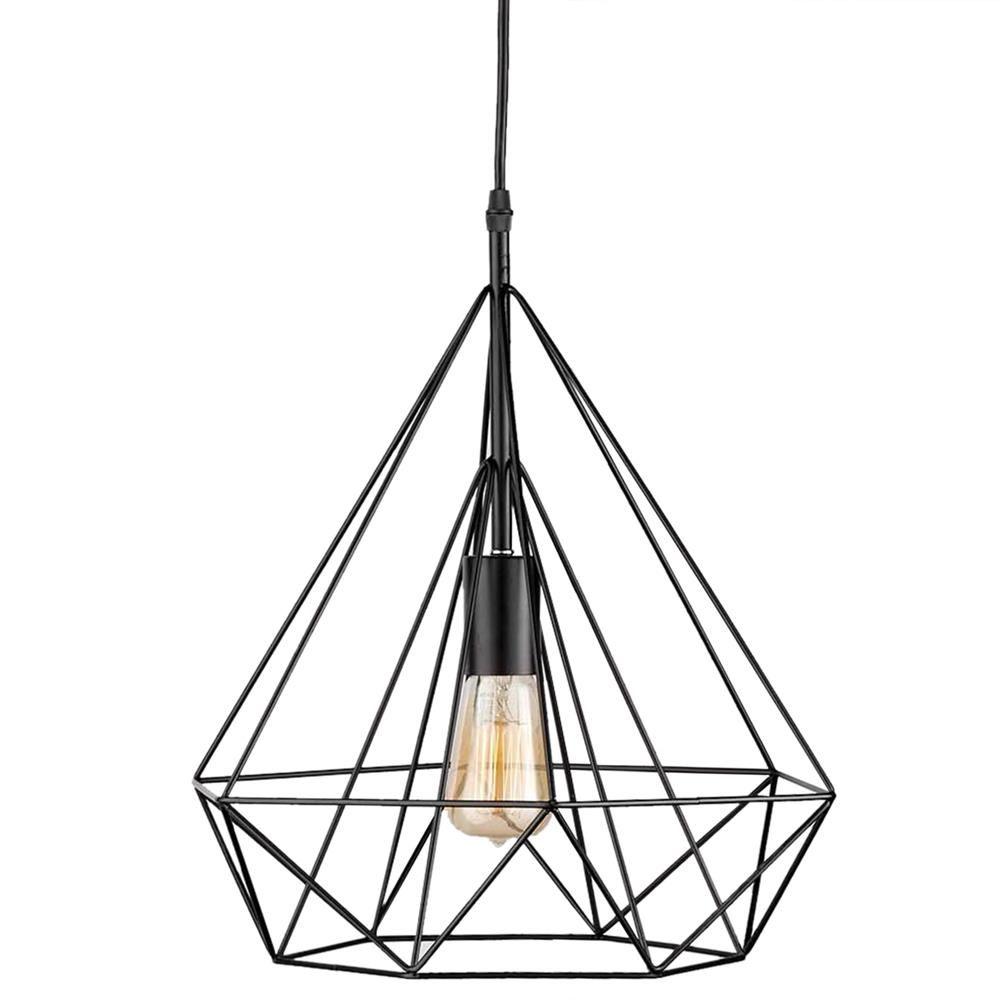 Lampe suspendue en fil de fer sous forme de diamant