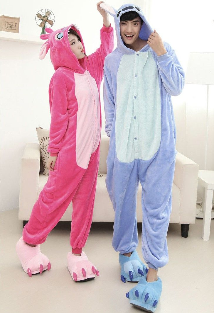 2f8a11ad4d0f $41.92 - Adult Stitch Kigurumi Pajamas Onesies for Couples with Feet  Slippers