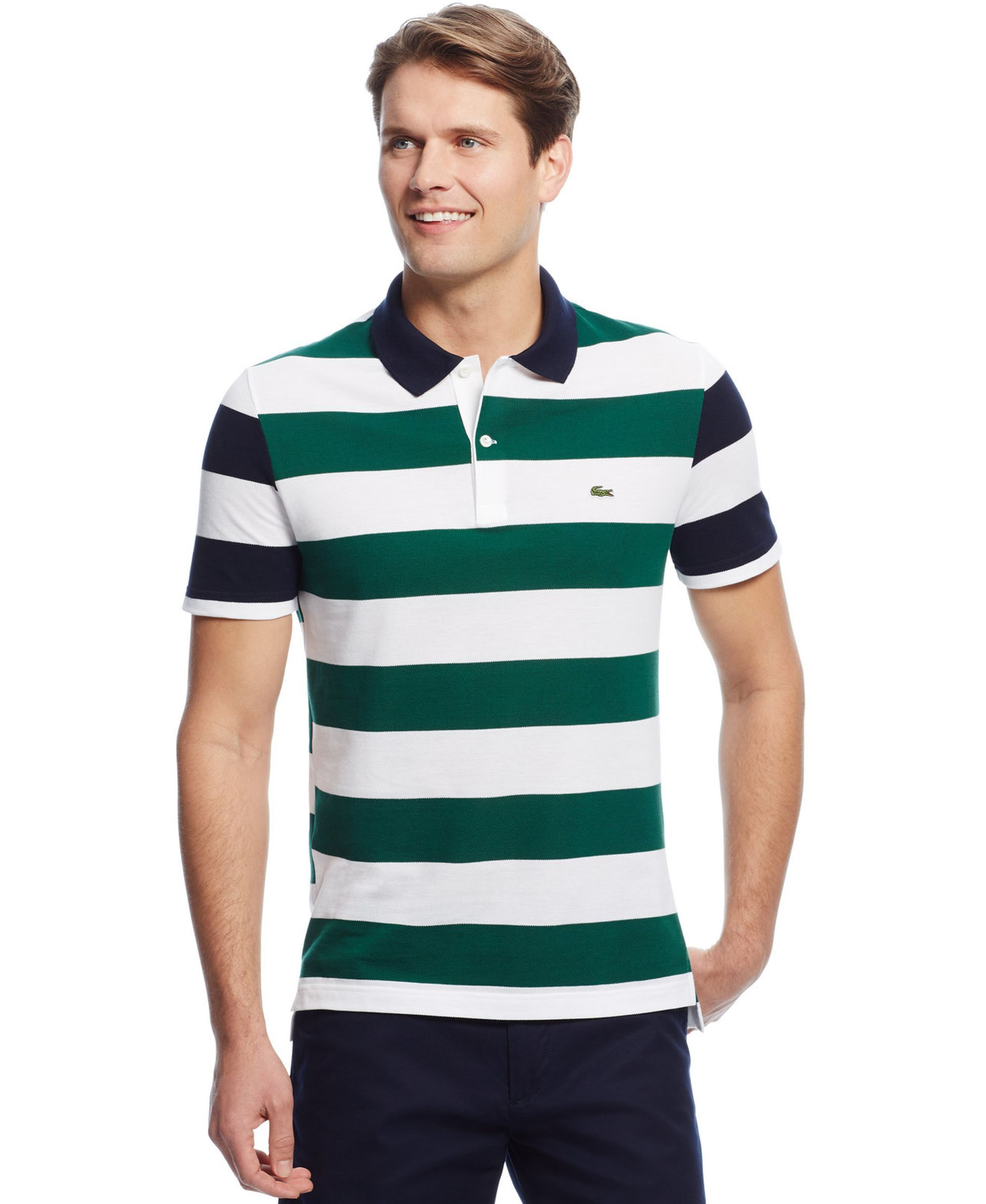 Lacoste Men 39 S Colorblocked Stripe Pique Polo Mens Sports