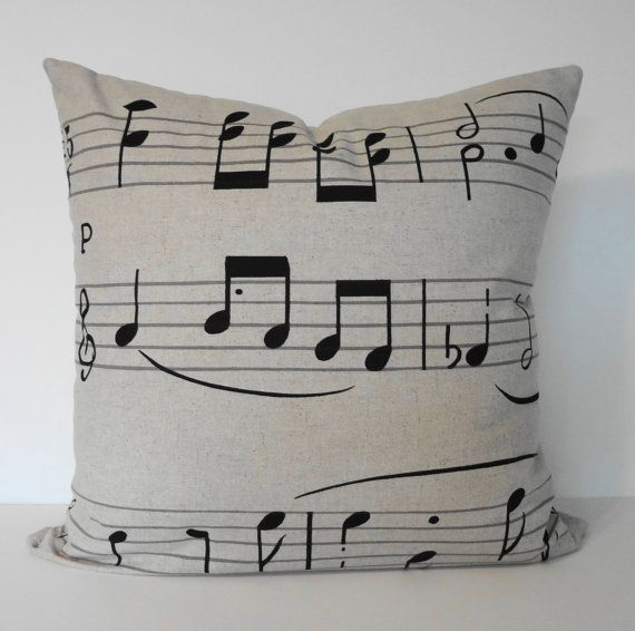 Musical Notes Decorative  Linen Pillow Cover in Natural and Black 18 x 18