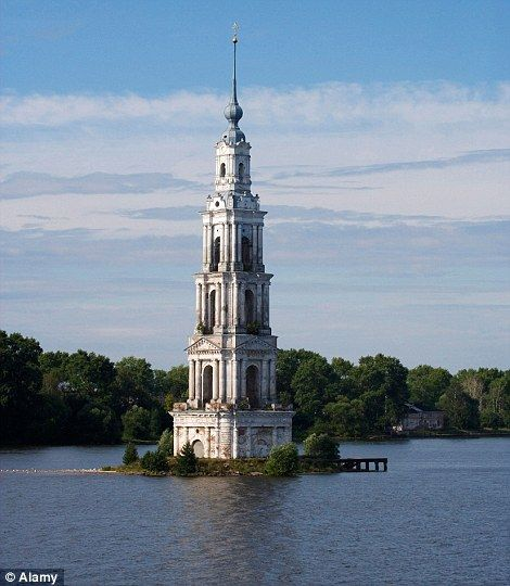 Last remnants: the bell tower of St. Nicholas Cathedral (right) in the town of Kalyazin, Russia, which was submerged to make a reservoir in 1939