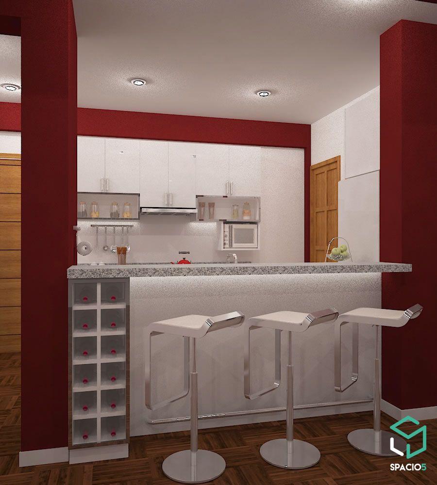 diseo de cocina pequea con colores rojo y blanco