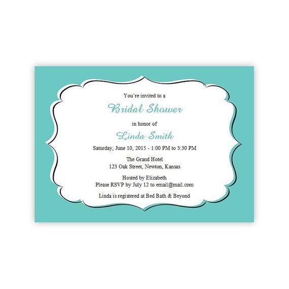 Teal Bridal Shower Invitations Diy Printable Template Instant