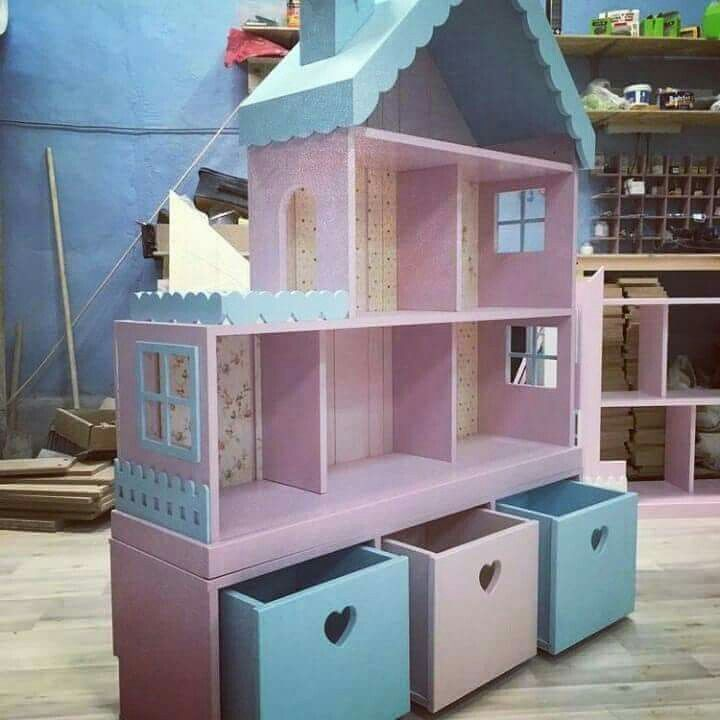 Doll House with Storage Bins #dollhouses