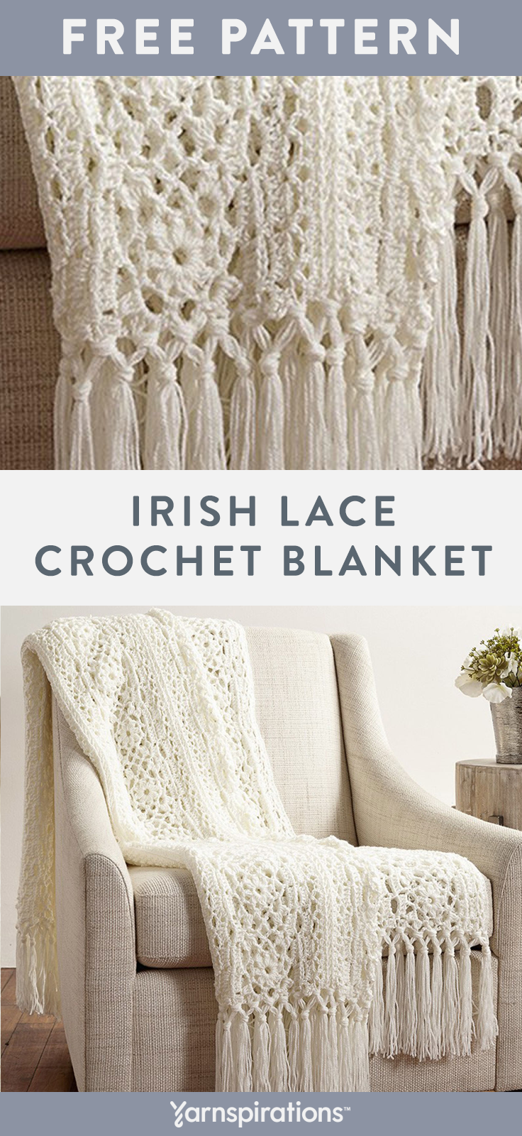 Free Crochet Pattern | Patons Canadiana Irish Lace Crochet Blanket | #Yarnspirations #FreeCrochetPattern #CrochetBlanket #Patons #PatonsCanadiana #Caron #Bernat #LilySugarNCream #irishlacecrochetpattern
