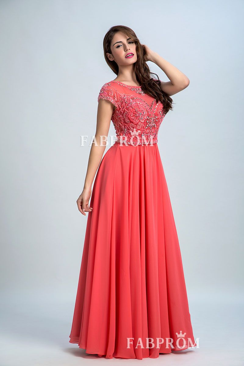 ed3d6183840 Beaded Embroidered Watermelon Chiffon Modest Short Sleeve Jewel Neck Prom  Dress