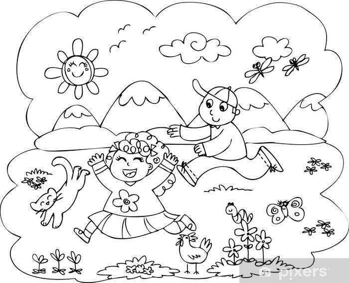 Fotomural Ninos Para Colorear Jugando En El Campo Pixers Vivimos Para Cambiar Coloring Pages Family Coloring Pages Coloring Pages For Kids