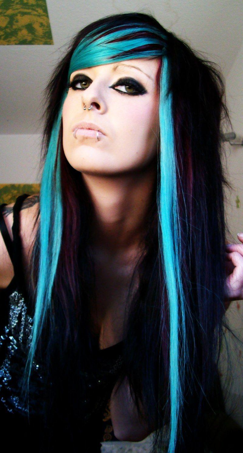 Blue and black scene style pinterest hair styles hair