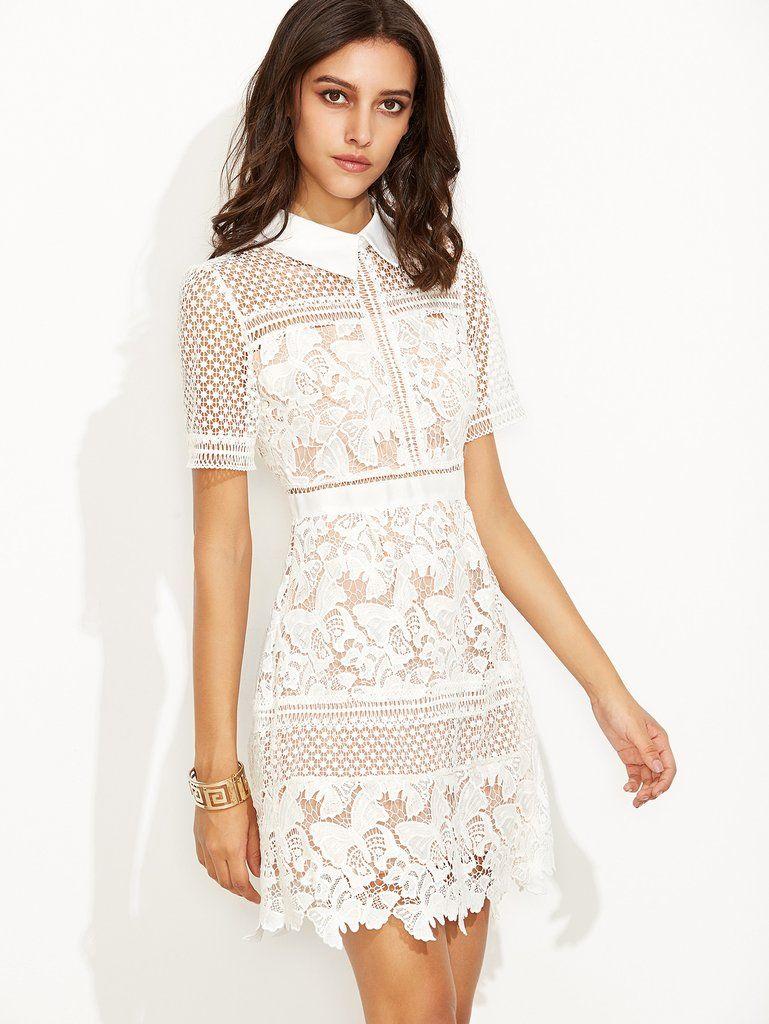 Romantic White Lace Crochet Chic Overlay Shirt Dress Lace Dress Fashion Dresses Crochet Dress [ 1024 x 769 Pixel ]