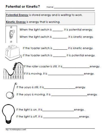 Potential or Kinetic Energy Worksheet | STEM energy | Kinetic ...