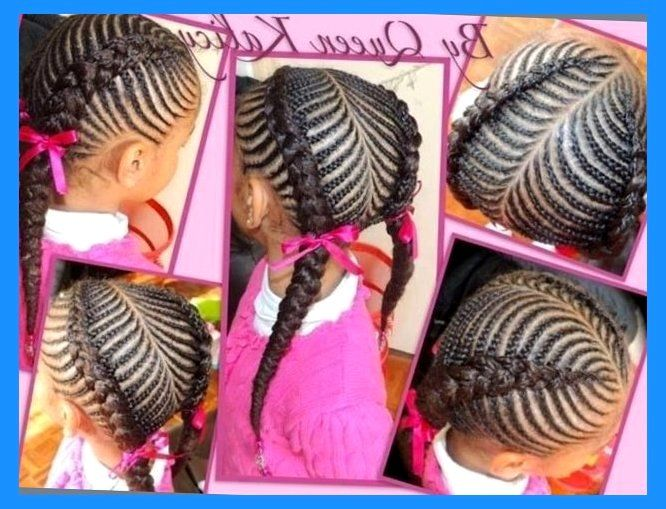 Natural Hair Braiding Styles For Kids: Pretty Cornrow Style African American Natural Protective