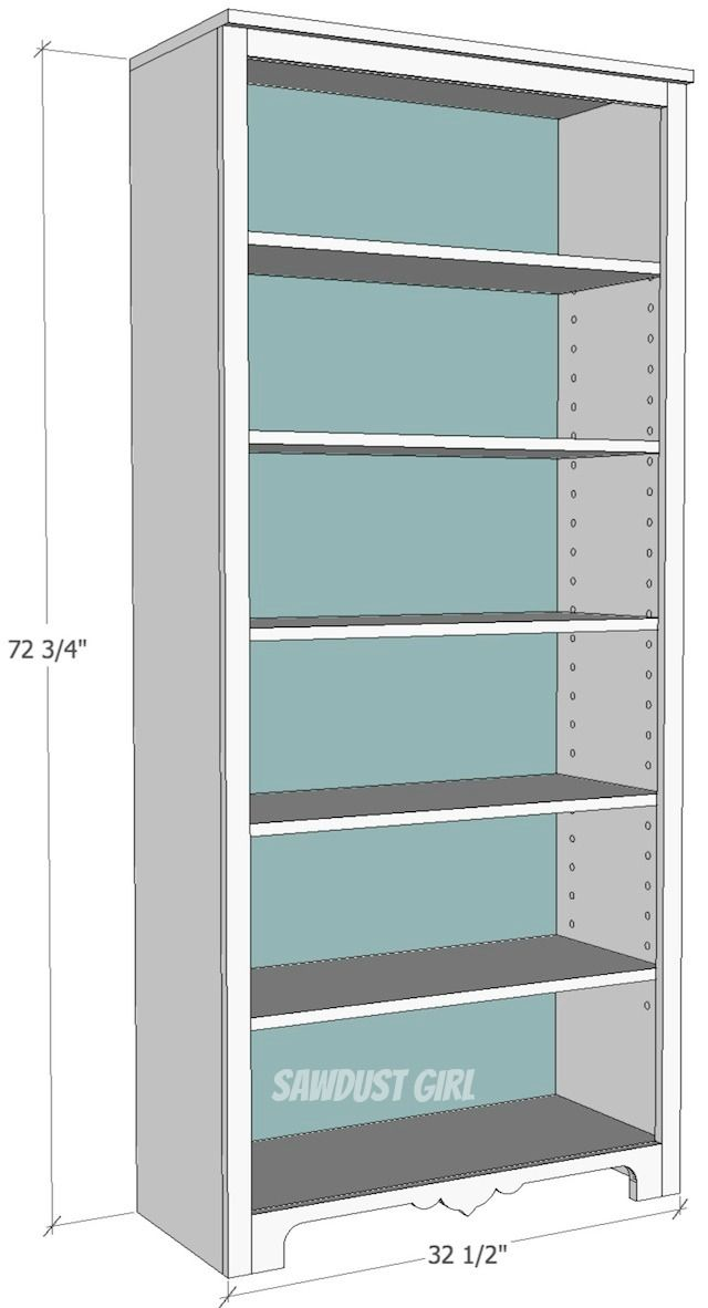 Free Plans to build a tall bookshelf with adjustable shelves from Sawdust  Girl. - Bookcase Plans Built-in Bookcase - Kreg Jig Owners Community