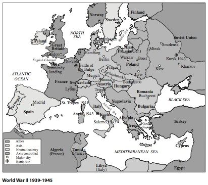 European History World War II 1939 - 1945 Map Homeschooling - best of world war 1 map black and white